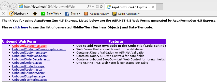Home page, list of generated ASP.NET Web Forms